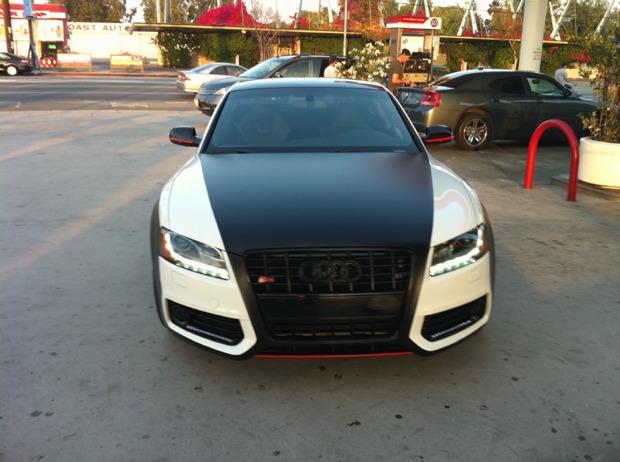 Audi S5 Roof Custom Two Tone Wrap Diamond Black