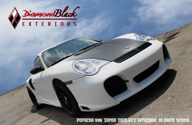 Porsche 996 Turbo Techart Wrapped In Matte White Diamond